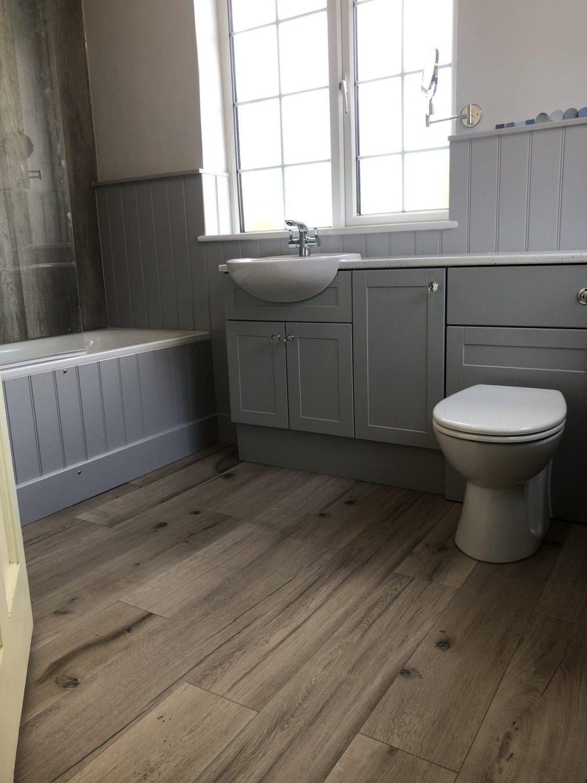 Grey and wood bathroom