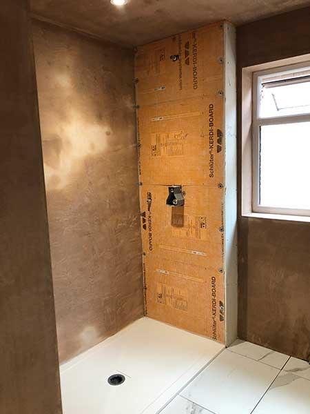 Carrerra marble bathroom under construction 5
