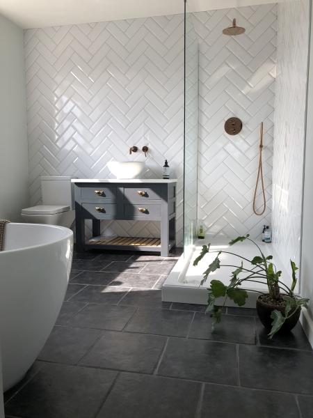 Herringbone luxury bathroom