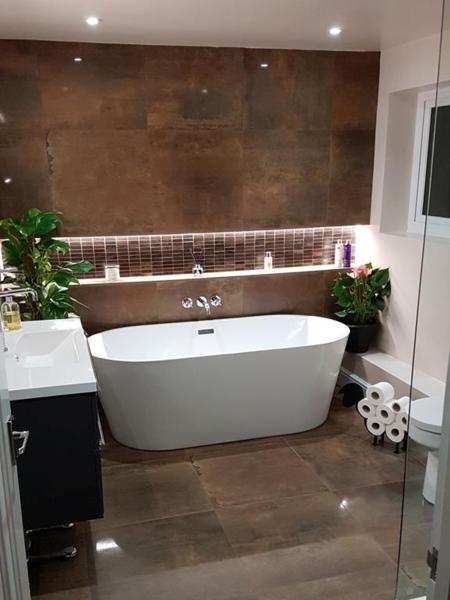 Copper tiled bathroom