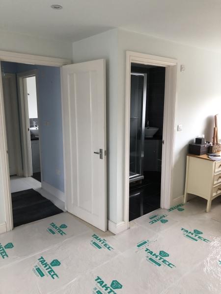 Copper tile bathroom under construction 4