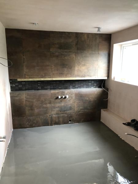 Copper tile bathroom under construction 2