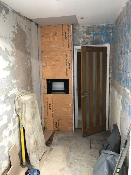 Carrerra marble bathroom under construction 7
