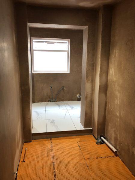 Carrerra marble bathroom under construction 4
