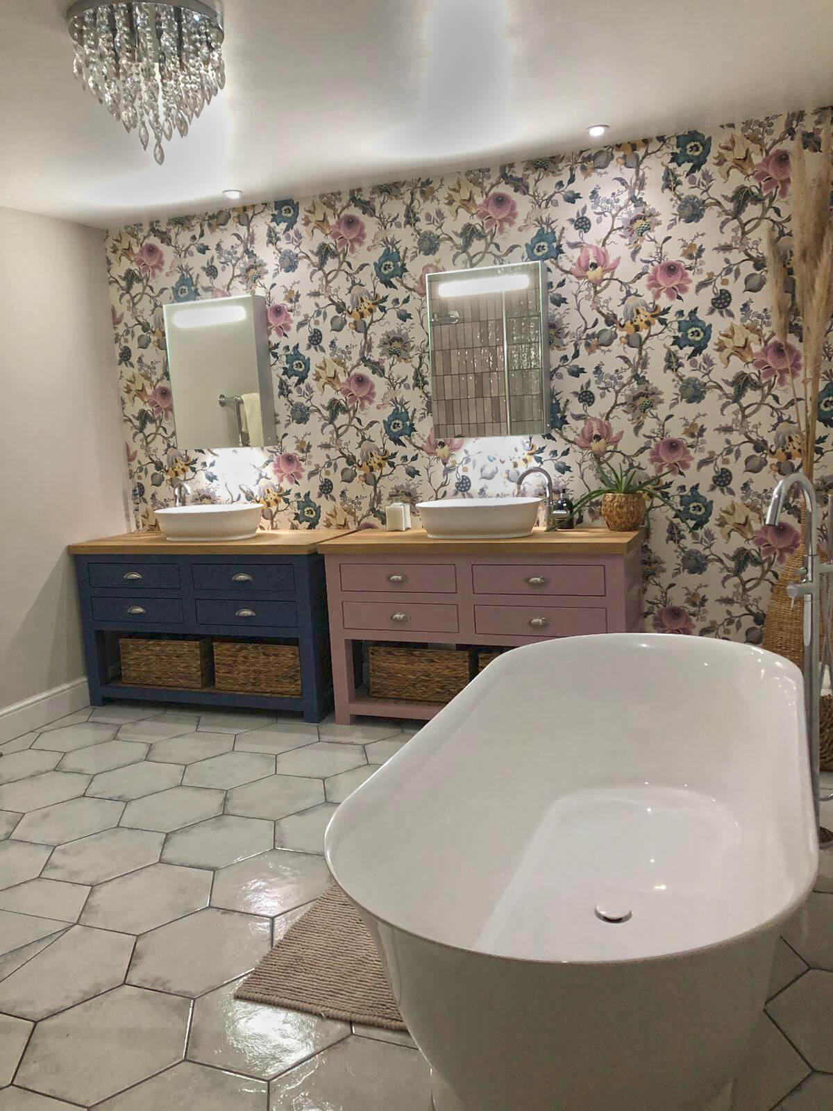 floral wallpaper his and hers bespoke furniture